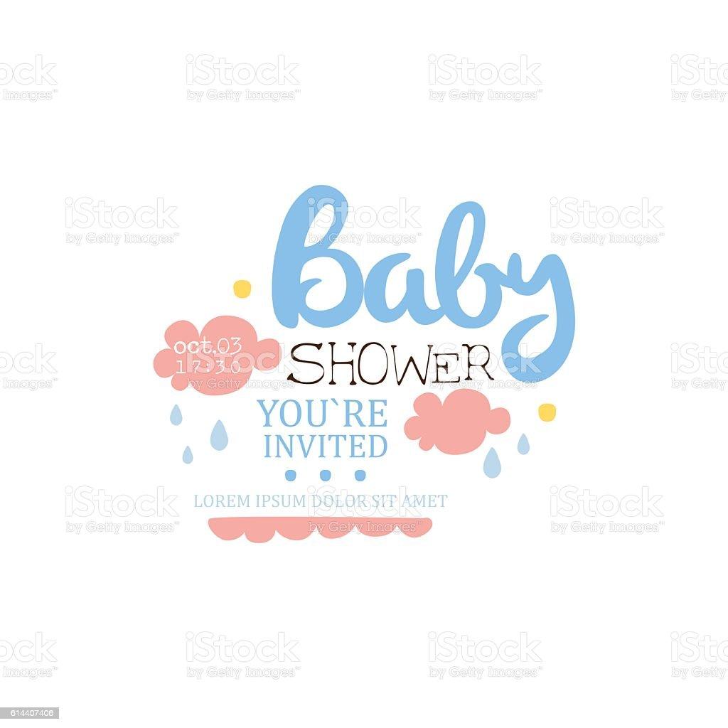 Ilustracion De Baby Shower Invitation Design Template With Clouds Y