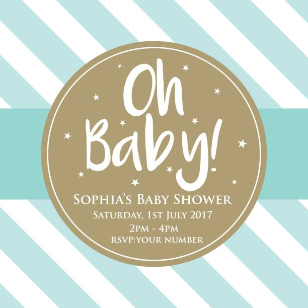 baby shower invitation for baby boy - baby shower stock illustrations, clip art, cartoons, & icons