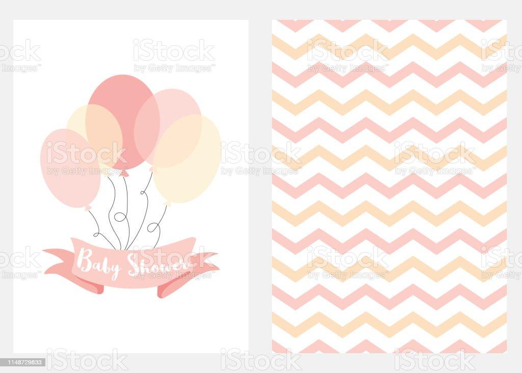 Ilustración De Baby Shower Invitación Para Niñas Globos