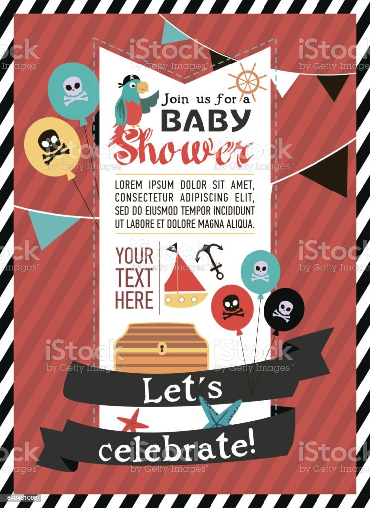 Baby Shower Invitation For Pirate Party stock vector art 840481068 ...