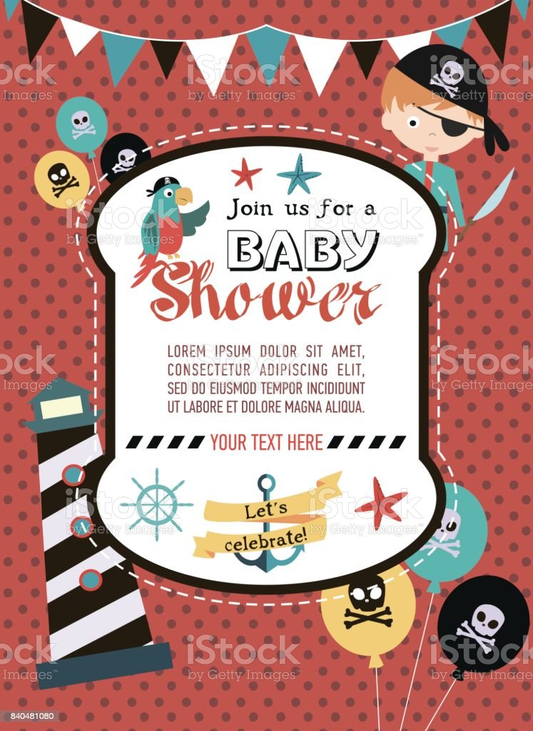 Baby shower invitation for pirate party stock vector art more baby shower invitation for pirate party royalty free baby shower invitation for pirate party stock stopboris Image collections