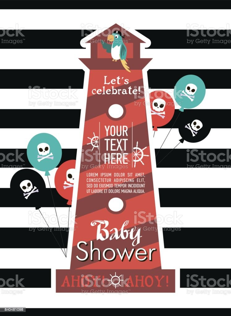 Baby Shower Invitation For Pirate Party stock vector art 840481098 ...