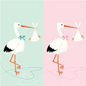 Stork with newborn. BBaby shower invitation. Boy and girl.