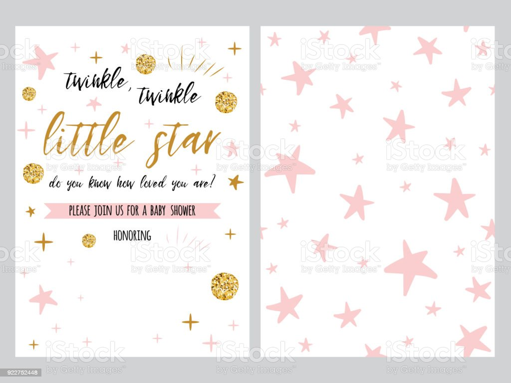 Baby shower invitation template backgtround with pink stars design baby shower invitation template backgtround with pink stars design vector set royalty free stopboris Choice Image