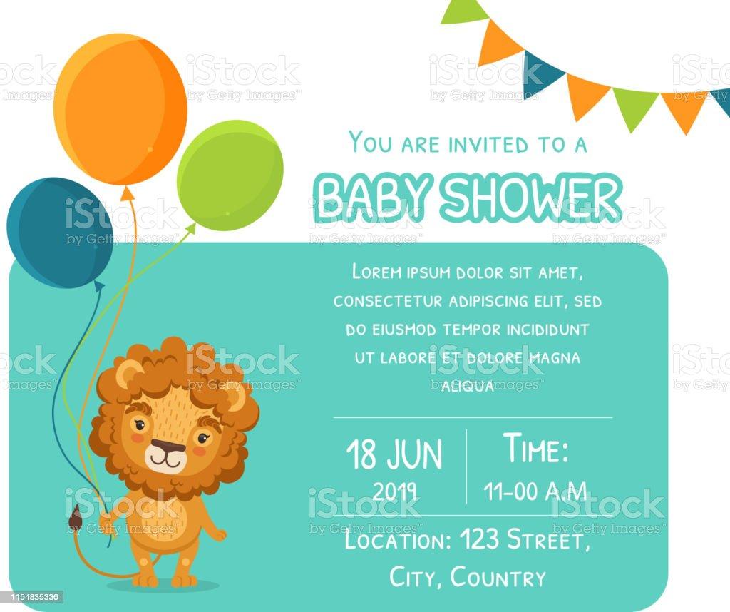 Baby Shower Karte Text.Babyduschvorlage Vorlage Karte Mit Niedrigelowe Ballons Und