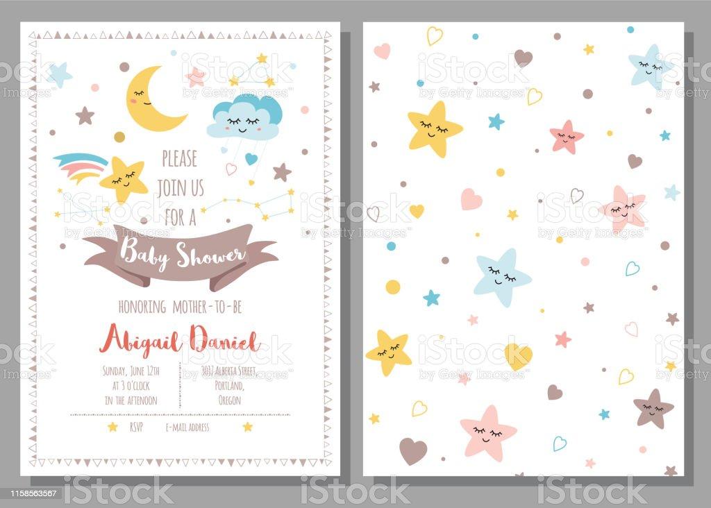 Ilustración De Bebé Ducha Plantilla De Invitación Para Bebés