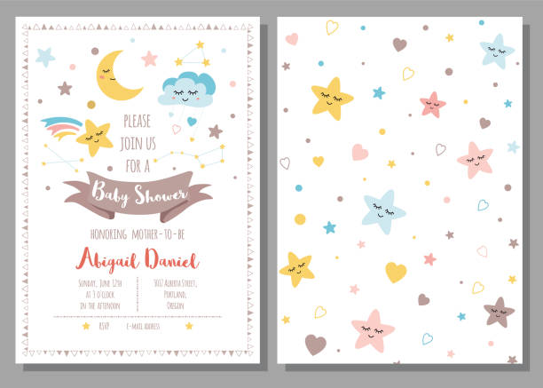 Baby shower invitation template for baby girls boys Cute sky stars cloud moon Set 2 cards Vector Baby shower invitation template for baby girls boys Cute sky stars cloud moon rainbow with eyes Set of 2 cards Starry design elements Baby arrival Children and drawn background Vector illustration. baby shower stock illustrations