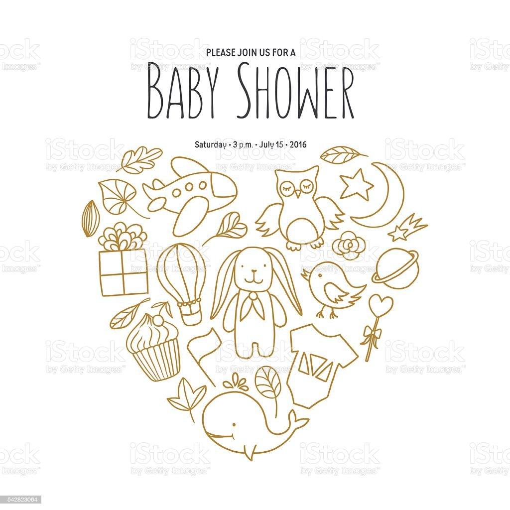 baby shower invitation template hand drawn vintage illustration
