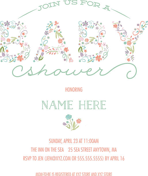 ilustraciones, imágenes clip art, dibujos animados e iconos de stock de baby shower invitation template - invite with floral design - baby shower