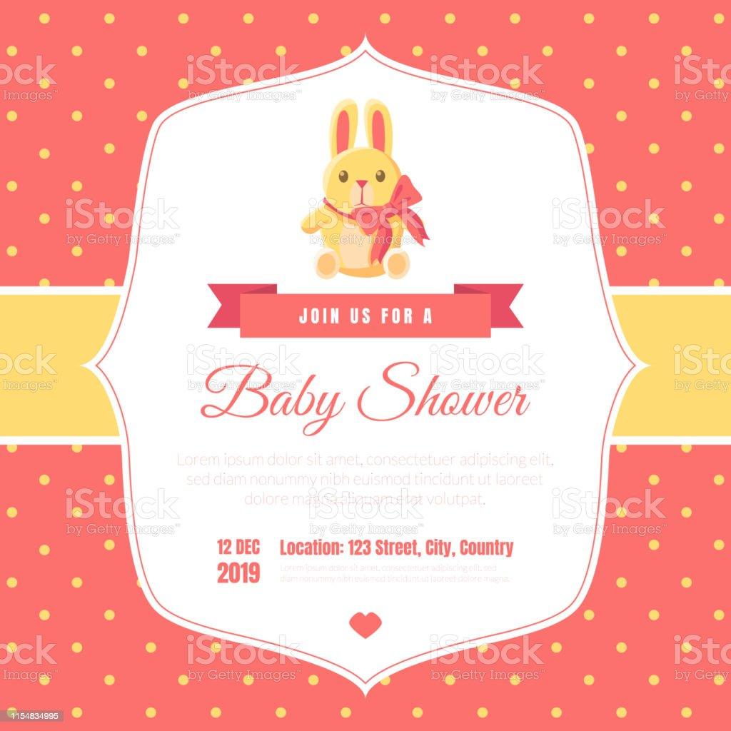 Ilustración De Baby Shower Invitación Plantilla En Fondo