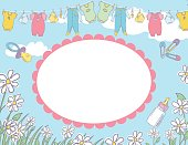 Baby shower background or invitation template with cute sketchy baby elements and room for text.