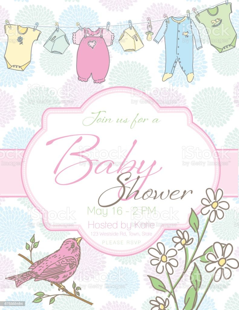 baby shower invitation template stock vector art more images of