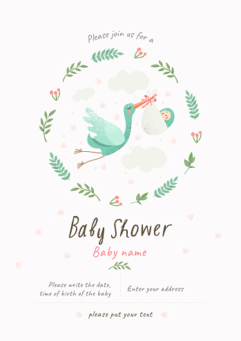 Baby Shower Invitation template with cute illustration of a stork with a newborn in a flower frame, vector isolated card for congratulations on a newborn