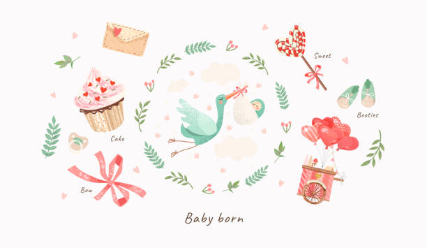 Baby Shower Invitation template with cute illustration of a stork with a newborn in a flower frame, vector isolated card for congratulations on a newborn vector art illustration