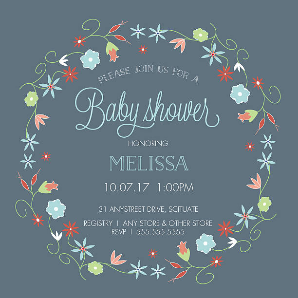baby shower invitation template - with floral wreath border - baby shower stock illustrations, clip art, cartoons, & icons