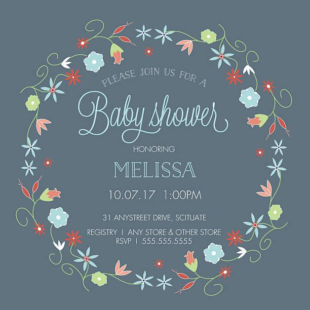 ilustraciones, imágenes clip art, dibujos animados e iconos de stock de baby shower con plantilla de invitación de la frontera flores corona - baby shower