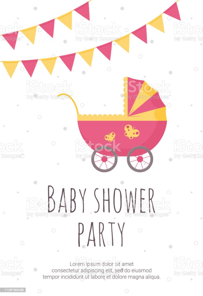 Baby Shower Invitation Template With Pink And Yellow Pram Party