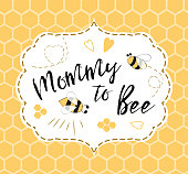 Baby shower invitation template with text Mommy to Bee, honey. Cute card design for girls boys with bees. Vector illustration. Banner for Mothers Day, congratulation on honeycomb background