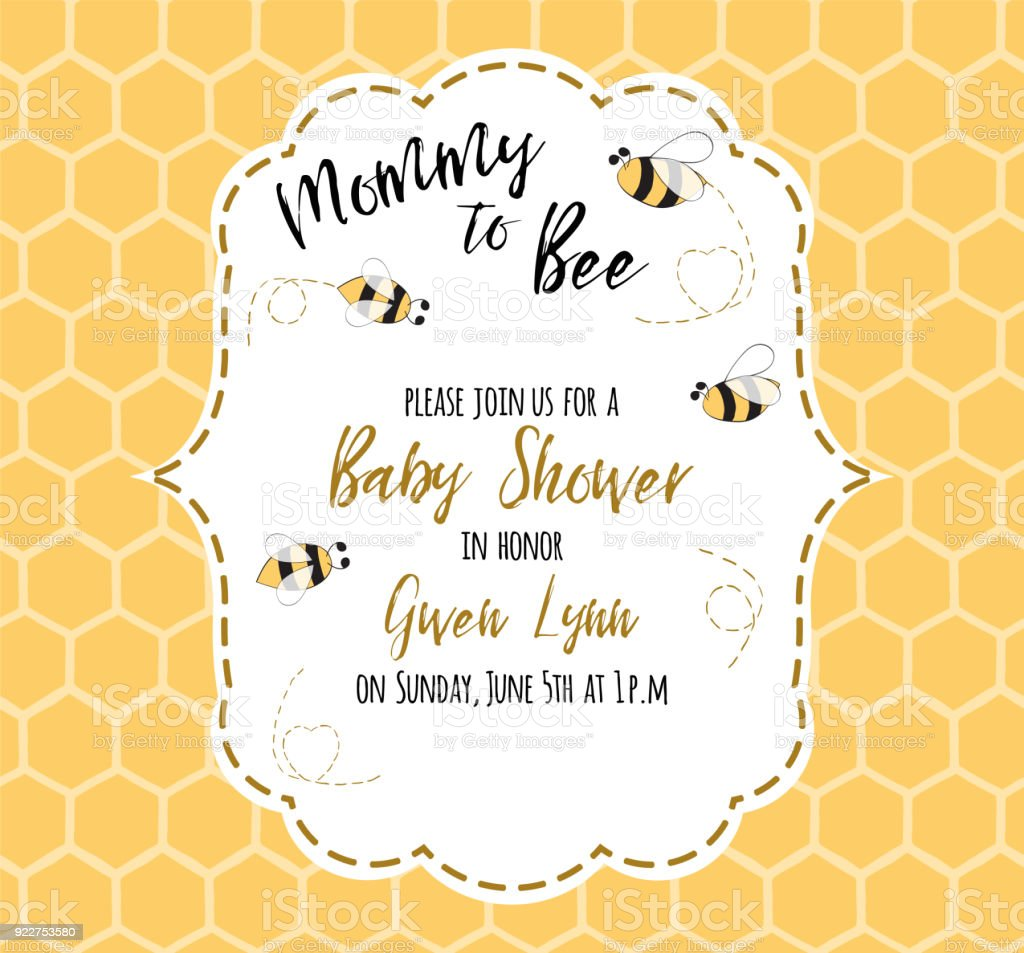 Baby Shower Invitation Template With Text Mommy To Bee Honey Cute ...