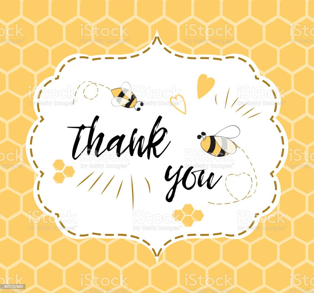 Baby Shower Invitation Template With Text Thank You With Bee Honey