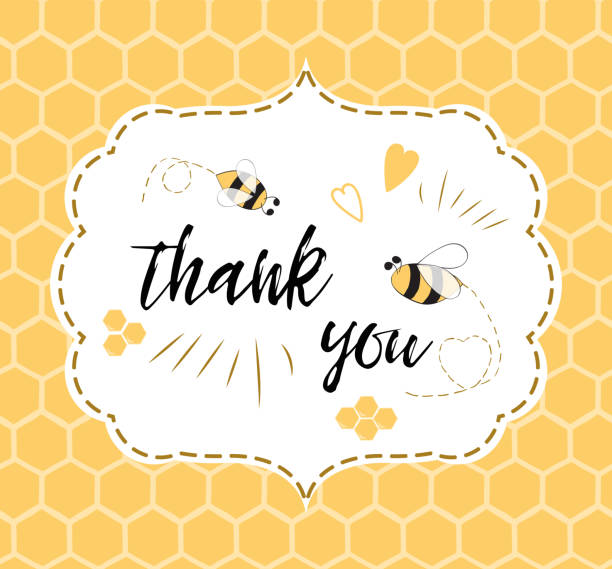 Baby shower invitation template with text Thank you with bee, honey. Cute card design for girls boys Baby shower invitation template with text Thank you with bee, honey. Cute card design for girls boys with bees. Vector illustration. Banner for children birthday congratulation on honeycomb background bee borders stock illustrations