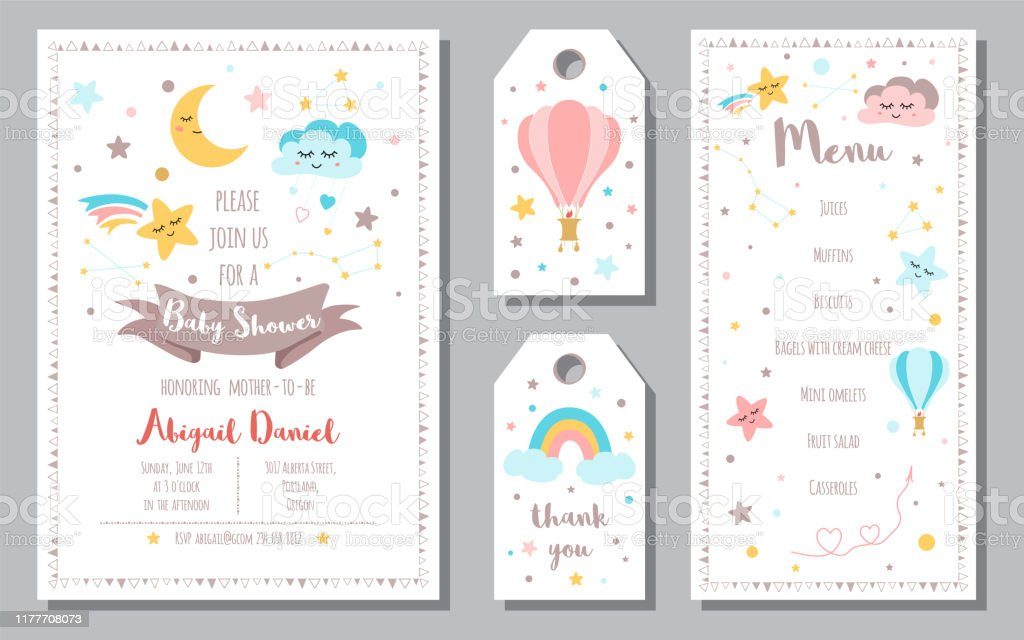Baby Shower Invitation Templates Banners Menu Thank You Moon Star Rainbow Vector Illustration Stock Illustration Download Image Now Istock