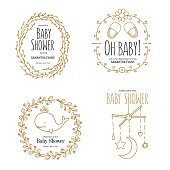 Baby shower invitation templates set. Floral design elements for decoration. Baby shower holiday greeting cards. Hand drawn vintage illustration.