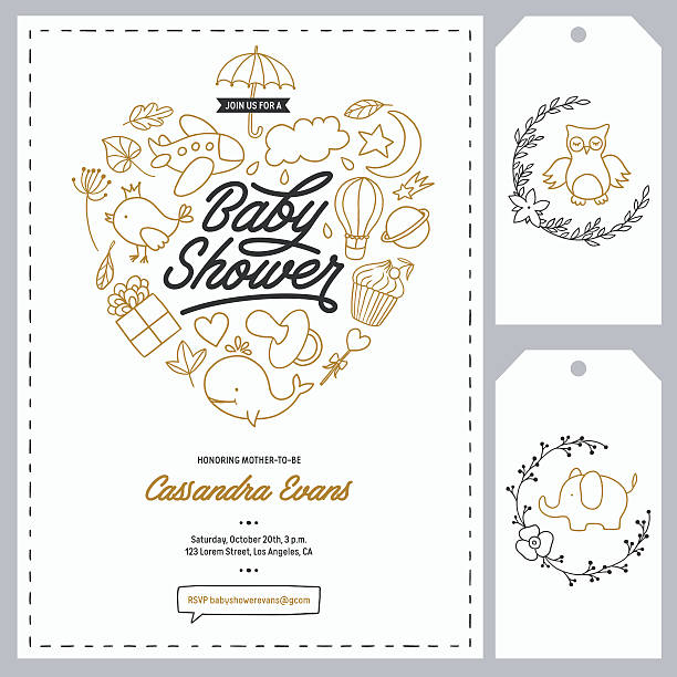 Baby shower invitation templates set. Hand drawn vintage illustration. - ilustración de arte vectorial