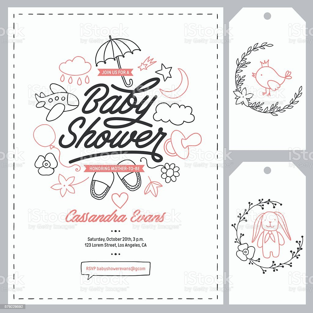 baby shower invitation templates set hand drawn vintage