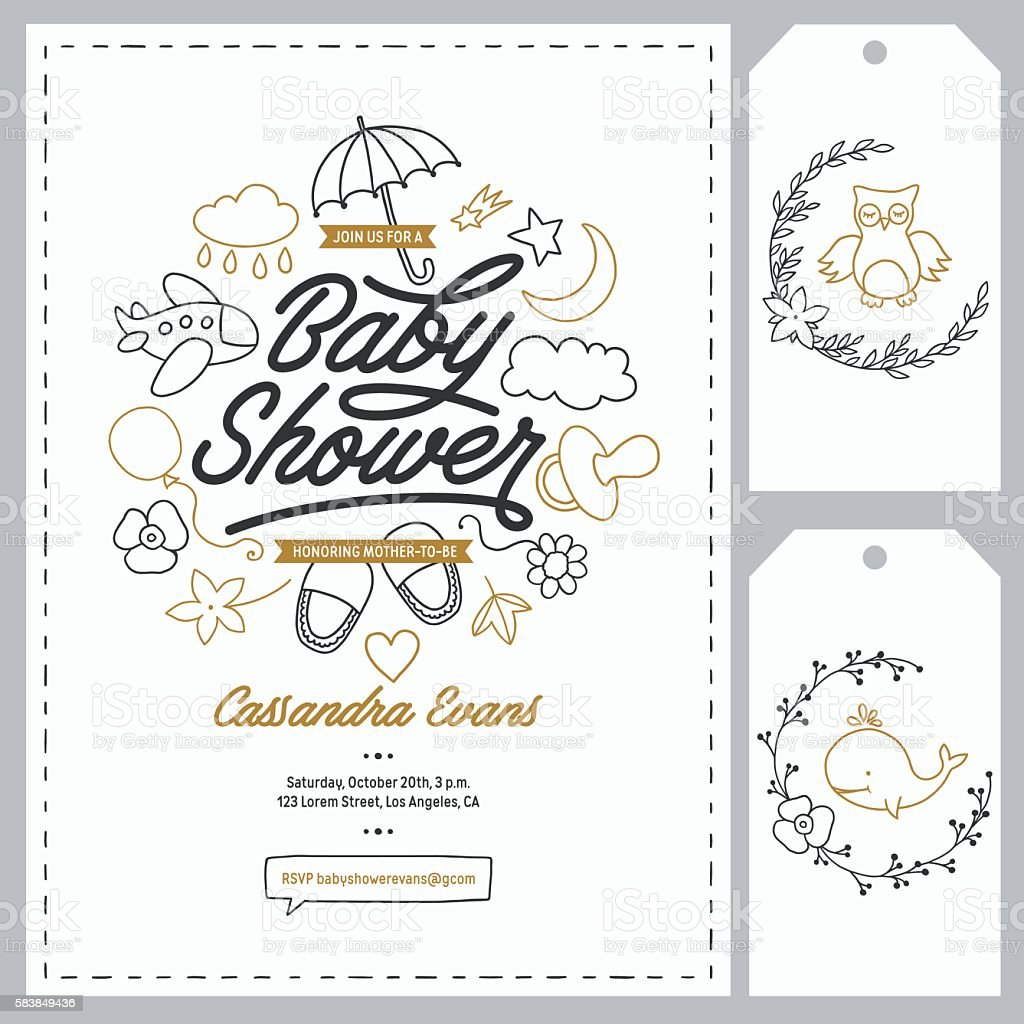 Baby shower invitation templates set. Hand drawn vintage illustration. vector art illustration