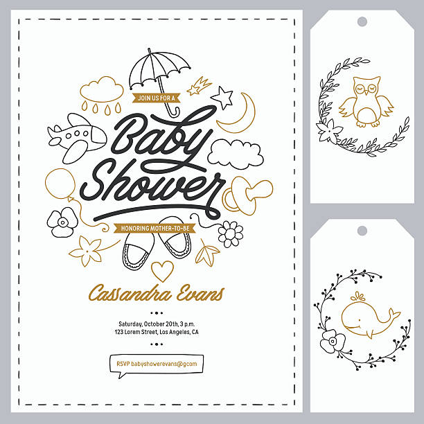 ilustraciones, imágenes clip art, dibujos animados e iconos de stock de baby shower invitation templates set. hand drawn vintage illustration. - baby shower