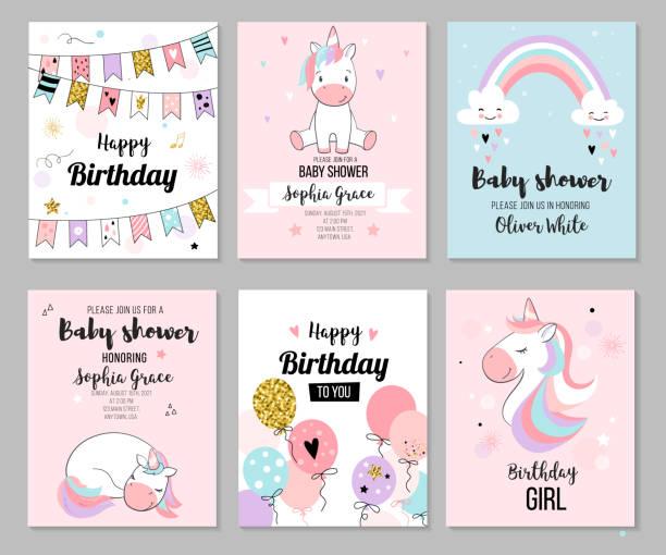 Baby shower invitation. Baby shower invitation and happy birthday greeting card set with cute unicorns. Vector illustration, hand drawn style. unicorns stock illustrations