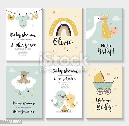 Baby shower invitation birthday greeting cards, Vector illustration, hand drawn style.