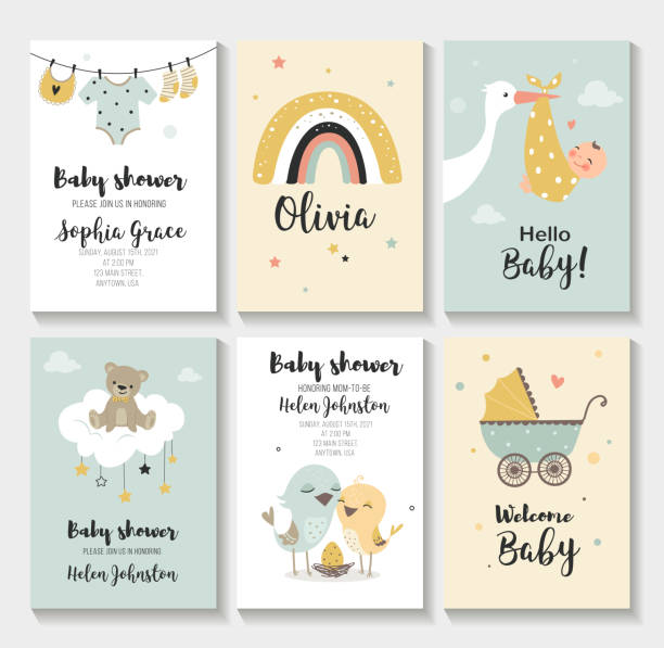 Baby shower invitation. Baby shower invitation birthday greeting cards, Vector illustration, hand drawn style. baby carriage stock illustrations