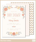 Beautiful floral baby shower invitation. Can also be used as a stationary for weddings, anniversaries, engagements, save the date announcements, thank you notes or any special occasion.