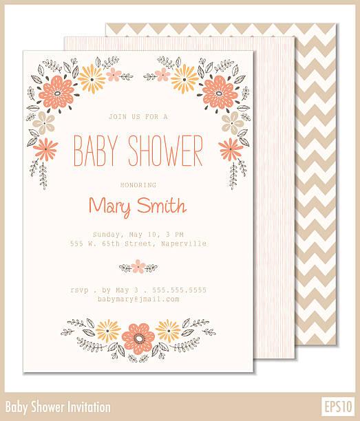 ilustraciones, imágenes clip art, dibujos animados e iconos de stock de invitación de bebé ducha - baby shower