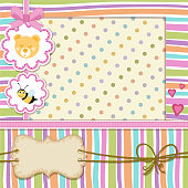 Baby shower invitation . Cute baby invitation with bee and teddy bear.File saved in EPS 10 format and contains blend and transparency effect