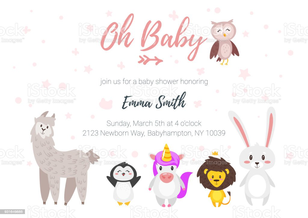 Baby shower invitation stock vector art more images of animal baby shower invitation royalty free baby shower invitation stock vector art amp more images stopboris Gallery