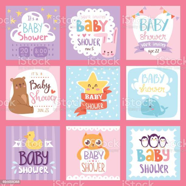 Baby shower invitation vector set card print design layout vector id694658068?b=1&k=6&m=694658068&s=612x612&h=07dpqgvan0ueknt3qqjzyht8camxnbokri524 awtoo=