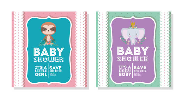 Baby shower invitation with elephant and sloth cartoon vector design elephant and sloth cartoon design, Baby shower invitation party card and decoration theme Vector illustration baby sloth stock illustrations