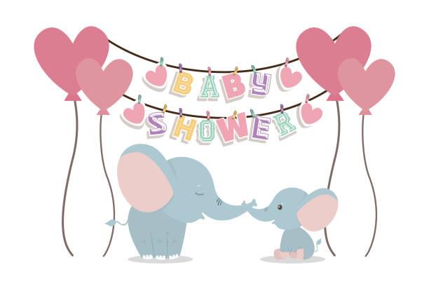 Baby shower invitation with elephants cartoons vector design Baby shower invitation with elephants cartoons design, Party card decoration love celebration arrival and born theme Vector illustration baby shower stock illustrations
