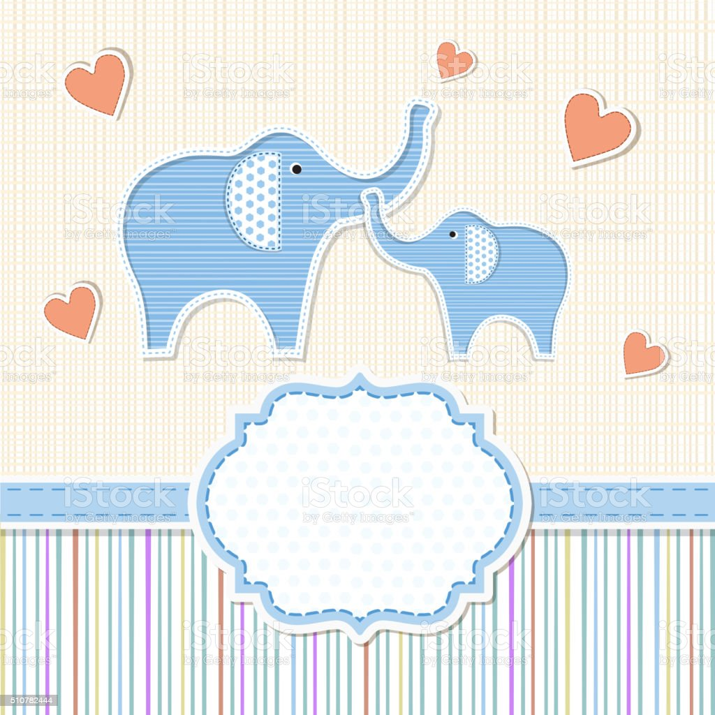 Baby Shower Invitation With Elephants Stock Vector Art More Images