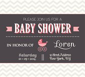 Baby shower invitation with grey and pink modern design