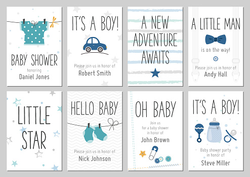 Baby shower invitations. Baby boy arrival and shower cards collection.