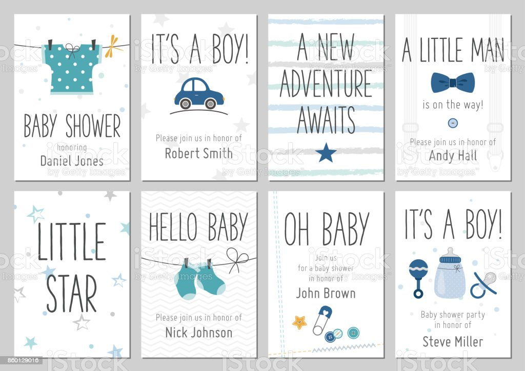 Baby shower invitations. Baby boy arrival and shower cards collection. vector art illustration