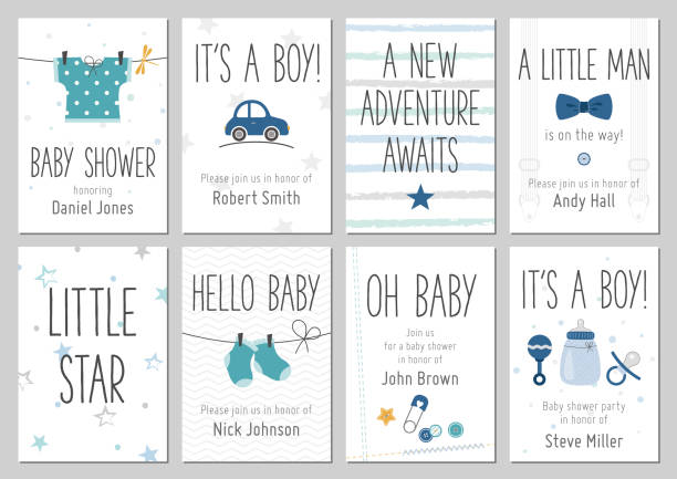baby shower invitations. baby boy arrival and shower cards collection. - chłopcy stock illustrations