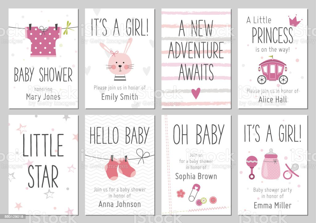 Baby shower invitations. Baby girl arrival and shower cards collection. vector art illustration
