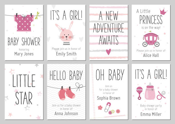 Baby shower invitations. Baby girl arrival and shower cards collection. Baby shower invitations. Baby girl arrival and shower cards collection. Vector invitations with baby dress, bunny, heart, carriage, socks, pin, bottle. baby shower stock illustrations