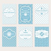 Baby shower set. Cute invitation cards for boy baby shower party. Vector collection on white and blue colors..