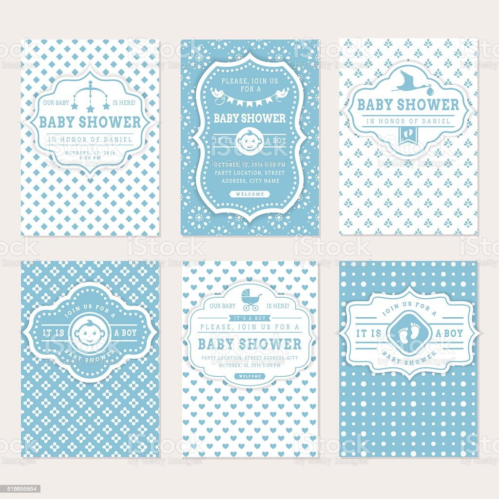 Baby shower invitations. vector art illustration